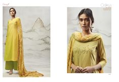 fb1c4d47a8 Yellow with Mehendi Shaded cotton lawn top with embroidery and hand work  Designer Salwar Kameez, cotton solid bottom and bemberg chiffon printed  dupatta.