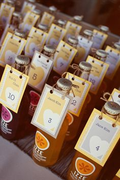 Drinkable escort cards are perfect for summer weddings