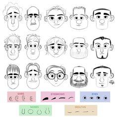 Cartoon Drawings Face making exercice from Luigi Lucarelli - Drawing Cartoon Characters, Cartoon Sketches, Cartoon Art Styles, Art Drawings Sketches, Simple Cartoon Characters, Cartoon Illustrations, Character Design Animation, Character Drawing, Character Illustration