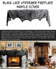 Creating the perfect ambiance for your Halloween party with elegant spooky black lace mantle cover. A deal at $6.99.