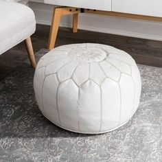 Shop Oliver & James Araki Moroccan Leather Ottoman Pouf - On Sale - Overstock - 19972720 Young House Love, Leather Pouf, Leather Ottoman, Pouf Ottoman, Ottoman Ideas, Ottoman Design, Marceline, Moroccan Decor Living Room, Handmade Ottomans