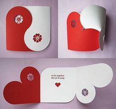 """beautiful handmade love card """"Yin & Yang"""" hearts What about using this pattern for wedding invites??"""