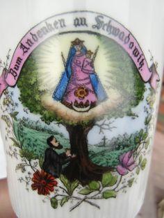 Schale Andenken Schwadowitz Wallfahrt Maria Madonna Mutter Gottes um 1880/1900