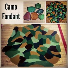 Here's my tutorial on How to make camouflage fondant. This method works to make any type of camo. I made this camo birthday cake for my Brother, who loves hunting. I ended up putting a black profile of a deer head on the top of the cake. camo cake, hunting cake, camo fondant, military cake,