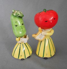 Vintage National Potteries NAPCO Anthropomorphic Vegetable Heads Salt and Pepper Musicians, Tomato Girl Playing Harp and Melon Girl with Songbook in anthropomorphic