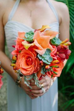 Comfort Studio; Coral Ombre Costa Rica Wedding at Cala Luna from Comfort Studio - bridesmaid bouquet