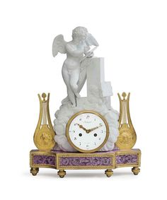 A LOUIS XVI ORMOLU-MOUNTED BISCUIT AND GLAZED PORCELAIN MANTEL CLOCK  THE CASE BY GUERHARD & DIHL, THE MOVEMENT BY JEAN-NICOLAS SCHMIT, CIRCA 1780