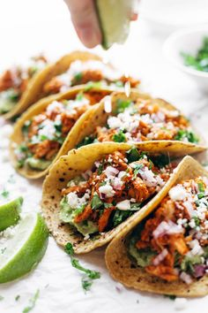 Closeup shot of Chicken Tinga Tacos.