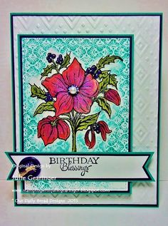 """Stamping with Julie Gearinger: CC553 Birthday Blessings Rose; Our Daily Bread Designs """"Christmas Rose"""" along with """"Birthday Doily"""" for the CC553 Color Challenge and SC562 Sketch :-)"""