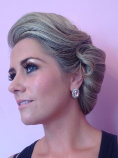 Wedding hair, side style, updo, textured , blonde, vintage, sleek, bridal style - christa