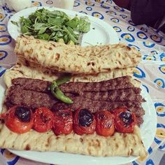 (One of traditional Iranian food) Iranian Dishes, Iranian Cuisine, Lebanese Recipes, Turkish Recipes, Iran Food, Arabian Food, Kabobs, Skewers, Food Pictures