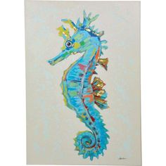 Stylish and elegant, this Y Decor Seahorse Hand Painted Canvas Wall Art will instantly complement any bedroom. Offers beauty and durability. Canvas Artwork, Canvas Wall Art, Painting Canvas, Seahorse Painting, Seahorse Art, Hand Painted Canvas, Coastal Art, Beach Art, Beach Canvas