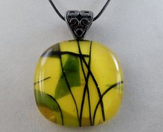 Lemon Yellow Glass Pendant by ZacInTheBoxCreations on Etsy