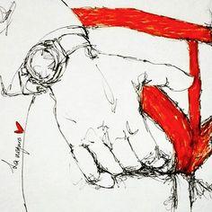 Que tal el lunes «la-bo-ral?» ;p #goodnight #Monday #lunes #lanegrura #ilustracion #illustration #red #lineas #lines  #amor #love #pasion #besos #medellin #medellincity #colombia