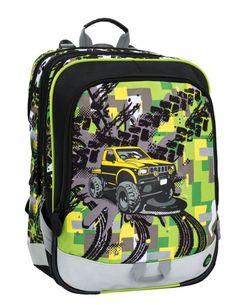 Školní batoh ALFA 6 D BLACK GREEN YELLOW 65a916ca7e