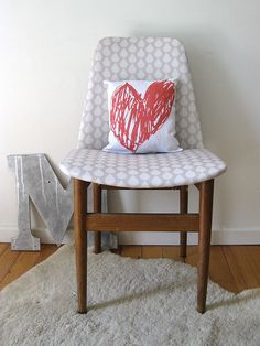 Raindrops chair + Mum's big heart pillow custom fabric by Ninaribena