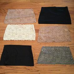 "Bundle 6 Camiband extenders/modesty liners These awesome camibands can be worn over your bra to provide extra coverage for low necklines, or at your waist as top extenders. You get two black, two nude lace, one ivory lace and one gray lace. All were worn 0-2 times. 14"" across at top, 16"" across at bottom, 8"" long top to bottom. Bundle for even bigger savings! Offers welcome. No trades. Camiband Intimates & Sleepwear"