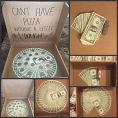 Last Minute DIY Valentines Gifts You Can Make in No Time – Pizza Money Gift Money gift diy idea Dollar bills in a faux pizza box with quarters used for pepperoni Great gift for teens. Birthday Money Gifts, Birthday Gifts For Teens, Grad Gifts, Birthday Ideas, Boy 16th Birthday, Cash Gifts, Girlfriend Birthday, Birthday Gifts For Her, Christmas Gift You Can Make