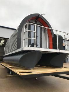 Matrix Pontoons — New Houseboat Porthole Pod Pontoon Houseboat, Houseboat Living, Pontoon Boats, Floating Boat, Floating House, British Marine, Container Conversions, Pump House, Float Your Boat