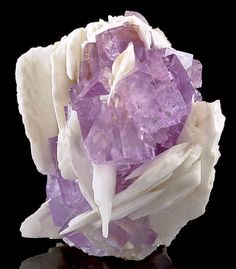 Fluorite cubes nestled between blades of white Barite