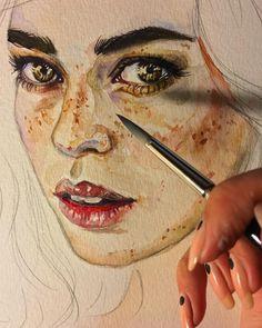 "7,155 Likes, 37 Comments - Леся Поплавская (@lesya_poplavskaya) on Instagram: ""Сладких снов #акварель #рисунок #живопись #арт #watercolor #watercolorpainting #drawing #eyes…"""