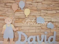 Decoración Infantil Pekerines: SILUETAS OSITO GLOBOS CON EL NOMBRE DE DAVID  pekerines.blogspot.com