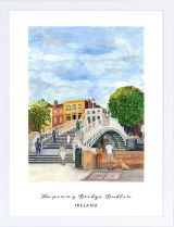 Ha'penny Bridge, Dublin, Ireland archival print Pedestrian Bridge, Dublin Ireland, Pigment Ink, Gouache, Watercolor Paper, Childhood Memories, Countryside, Vibrant Colors, Irish