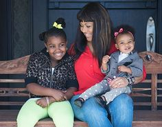 Erica Campbell with daughters Krista and Zaya