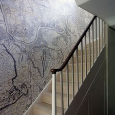 MAP THE WAY  Designer and architect Ben Pentreath created this scaled-up version of Rocque's 1746 map of London for the staircase of his friend and business partner Bridie Hall. The map starts with Canonbury - the location of the house - at the top.  Like the look? Create something similar of your own at Surface View.  Taken from the March 2014 issue of House & Garden.