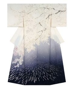 The Kimono Gallery. Kimono created by Megumi Sakurai. Annual Meeting of the Japanese textile artist Exhibition award work. Japanese Textiles, Japanese Patterns, Japanese Design, Japanese Art, Japanese Geisha, Traditioneller Kimono, Kimono Fabric, Shibori, Traditional Japanese Kimono