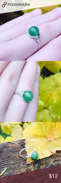 Aventurine ring Beautiful aventurine ring wrapped in sterling silver wire. You can buy earrings separately or as a set in another listing. Comes in a handmade satin gift pouch. Jewelry Rings