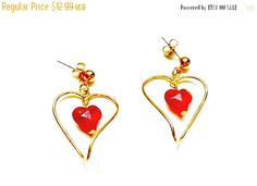 Sale vintage valentines gift for her red floating heart and gold earringsretro antique red and gold dangle heart earrings (11.69 USD) by PlasticPinkFlamingos