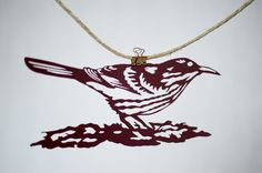 Handmade Papercut Brown Thrasher Bird Cut by FlyingPaperAirplane, $48.00