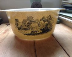 "Vintage English Pyrex "" Homestead "" with rural scene and smoked glass lid."