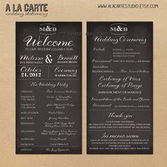 Wedding Ceremony Program Card -     This shop has tons of great invites, etc!