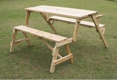 Best Convertible Picnic Table & Garden Bench 2in1 Compact Portable Easy Storage #1