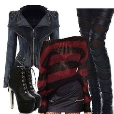 This is my favorite outfit out of all of the clothes on this specific board.it's perfection. Plus Size Halloween, Halloween Looks, Halloween Cosplay, Halloween Outfits, Halloween Costumes, Halloween Inspo, Halloween 2017, Freddy Krueger Costume, Freddy Costume
