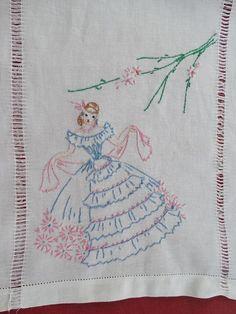 Vintage Hand Embroidered Southern Belle  Dresser Scarf / Runner