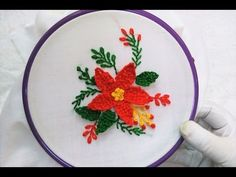Hand Embroidery - 3D Flower with Blanket Stitch - YouTube
