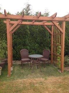 My garden arbor---hops growing on the side.