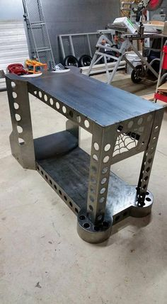 Custom welding table with welding cart built in. Welding Shop, Diy Welding, Metal Welding, Welding Projects, Metal Tools, Metal Projects, Welding Ideas, Outdoor Projects, Diy Projects