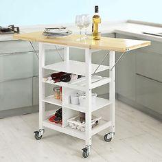 Sobuy ® cuisine serving trolley panier avec pliant charnière côté boards, FKW44-WN, uk