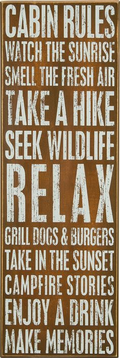 Cabin Rules. Watch the sunrise. Smell the fresh air... Box Sign for your Cabin Decor.: