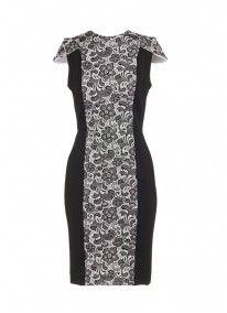 Adele pencil dress with flocked-print  Black/White