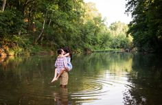 Sexy, romantic outdoor engagement photos at creek // Bright Shot Photography // St. Louis, Mo. // #engagement