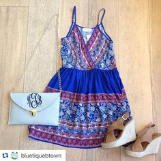 Loving this new dress!  Dress $39,  Bag $28.99 and Shoes $10! #ootd #shopbluetique available on the website!