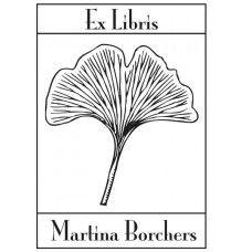 A bookplate design with a ginkgo leaf.