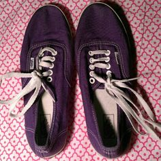 Brand new Purples Vans Cute purple Vans, used once, in perfect condition. (These are the low pro kind!) Vans Shoes Sneakers