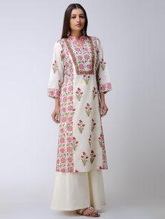 Buy Ivory Pink Block printed Paneled Mulmul Kurta Cotton Women Kurtas Elegant in Florals and palazzos Online at Jaypore.com