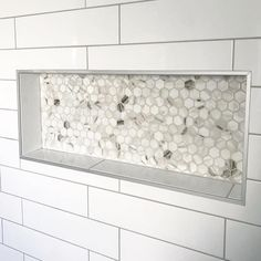 Shower Niche Trends : Modern shower niches, two tone shower niches and using accent tile in your shower niche will give your shower a great WOW factor. Tile Shower Niche, Bathroom Niche, Shower Tile Designs, Fitted Bathroom, Laundry In Bathroom, Small Bathroom, Master Bathroom, Travertine Shower, Washroom